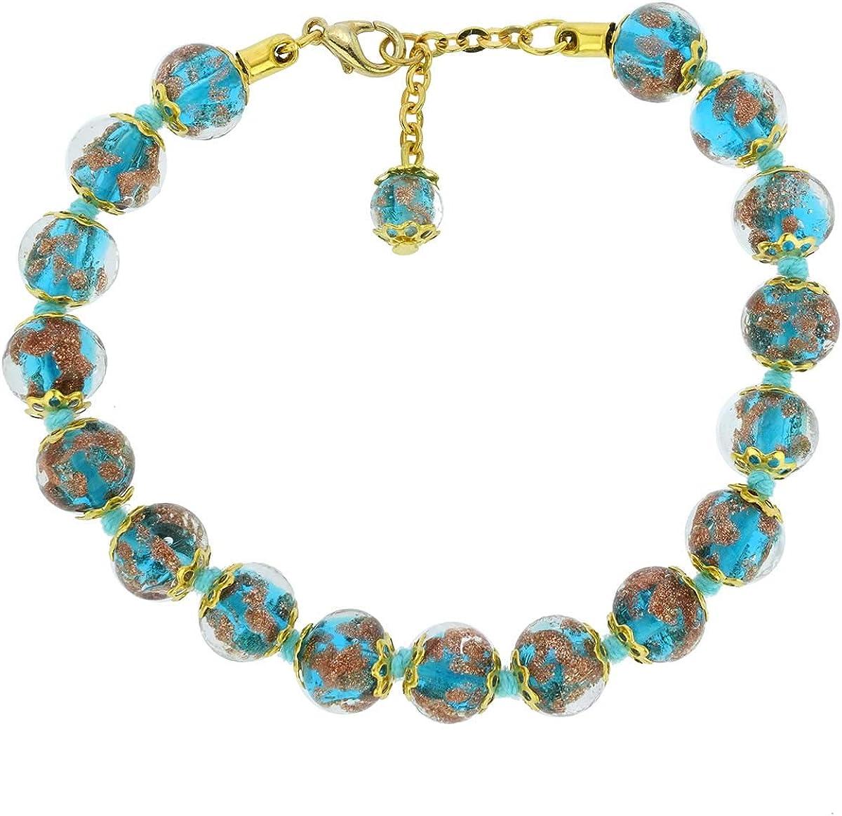 Original Murano Glass Necklace Millefiori Style Handmade In Italy Jewelry Black Glass Beads Hand Blown Glass