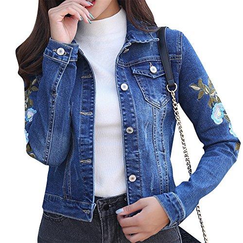 Ricamo Lunghe Cappotti Giacca Come Corta Jacket Jeans Dianshao Denim Cappotto Immagine Donna Maniche yTInqPa