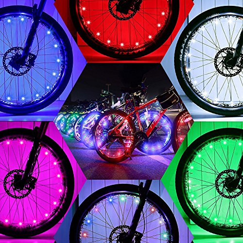 2 Pack Waterproof Bright Bicycle Tire Light Strip, Safety Spoke Lights, Cool Bike Accessories, Light Up Wheels, Safer Bicycle Spokes & Rims Light - Easy to install, No tools Needed,(2 Tiers Pack) by Cozy Homy