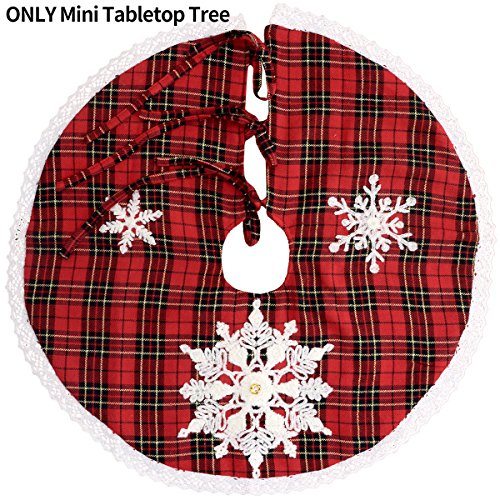 Grelucgo Mini Christmas Tree Skirt For Small Tabletop Tree, Embroidered Snowflake, Round 21 Inch, Red And Black Buffalo Plaid - Embroidered Christmas Tree Skirt