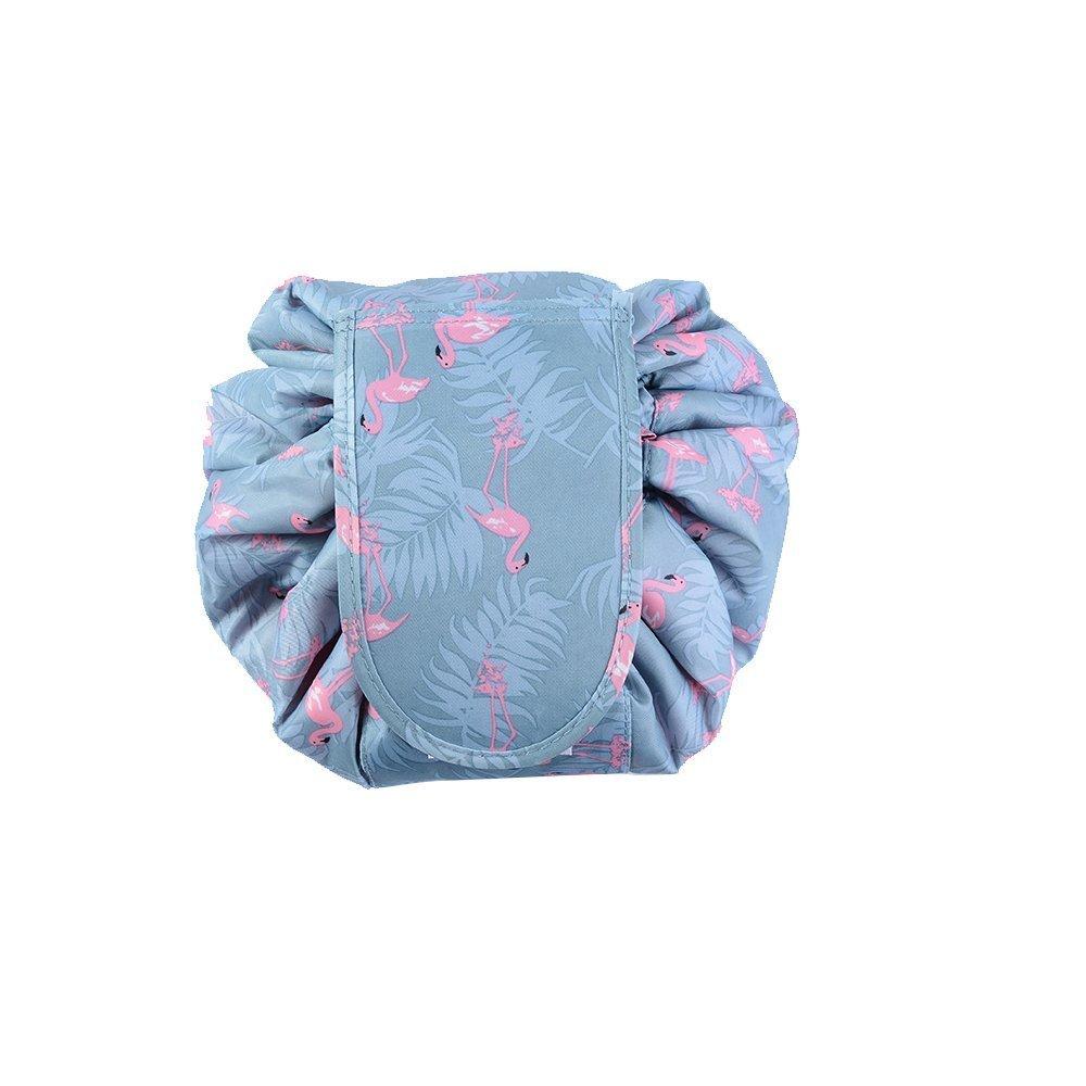MLMSY Kordelzug Kosmetiktäschchen Schminktaschen mit Kordelzug Portable Reise Drawstring Makeup Taschen Kosmetika Organizer Lagerung Kulturbeutel (B:Flamingos)