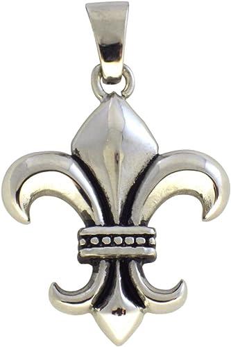 Fleur-de-Lis Necklace Pendant French Decorative Symbol 925 Sterling Silver