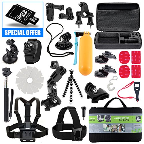 Kit For GoPro Accessories Session Hero 3-4-5 Go Pro sj4000 sj5000 Equipment Case Bundle Bag Pack - Selfie Stick Pole Tripod Gear Grip Mount Suction Cup With 8GB Memory Card - By Action Camera Kit (Bike Accesories Bags compare prices)