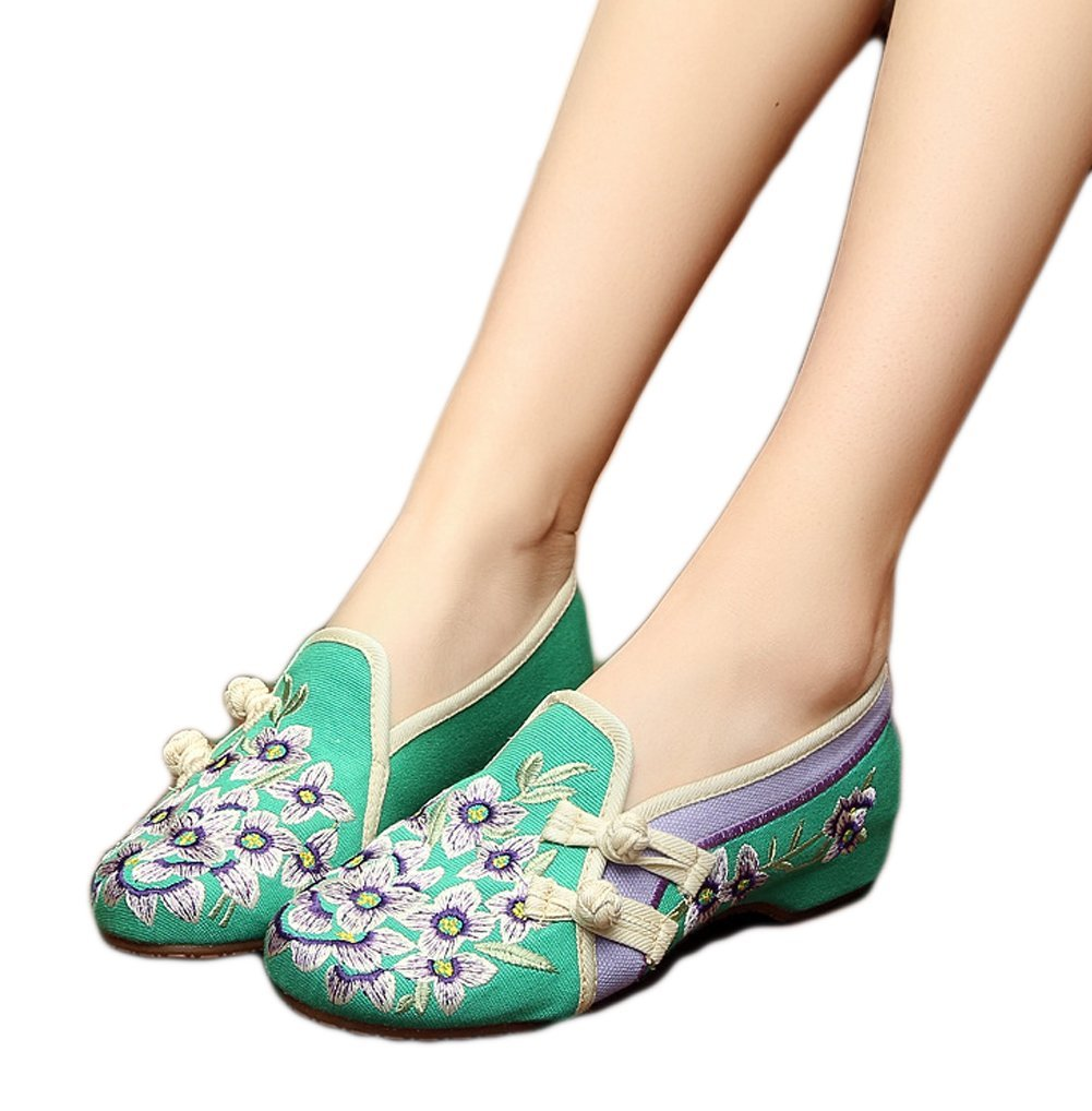 AvaCostume Womens Peachblossom Embroidered Flat Rubber Sole Casual Shoes Green 37