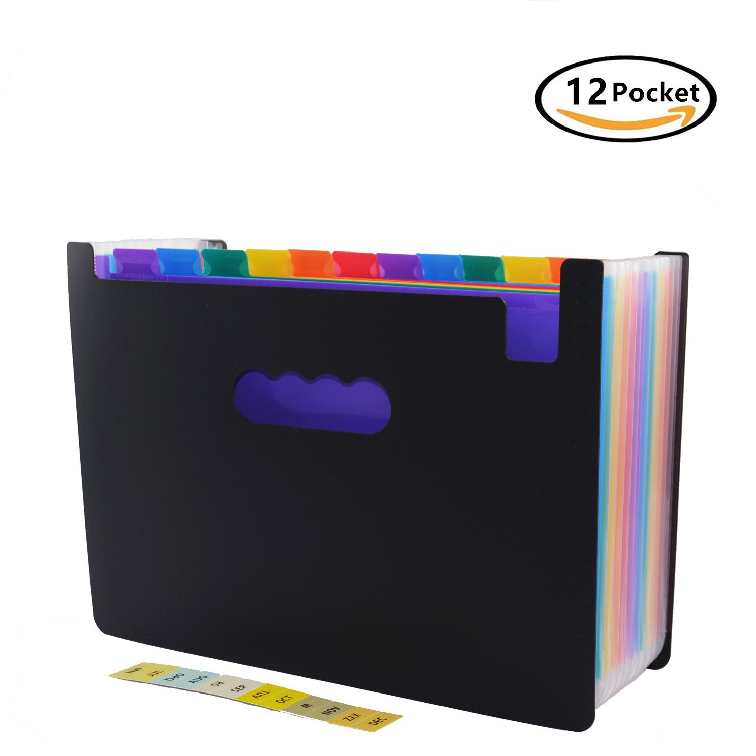 12 Pockets Expanding File Folder with Labels,A4 Size Colorful file organizer Portable Desktop Business Paper Document Holder Wallet for Home Office School Hospita (12 pocket)
