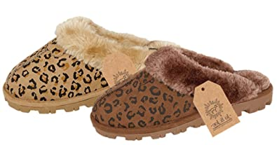 Ladies Brown Leopard Print Fur Mule Slippers - Size 5-6 UK jydE7