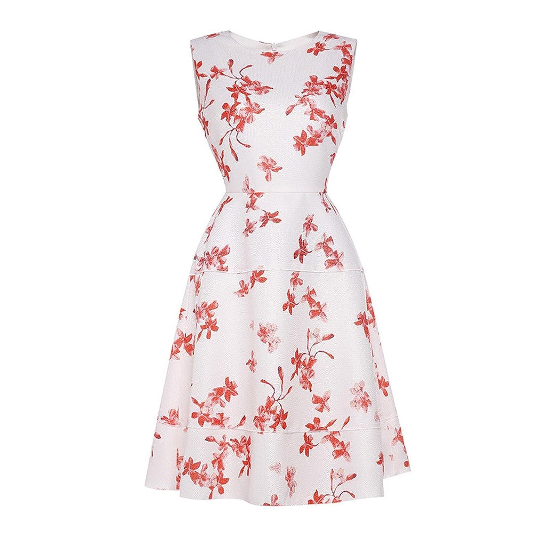 Qicool Womens Scharlachrot Blumendruck Fit-und-Blendung Ärmelloses Partykleid