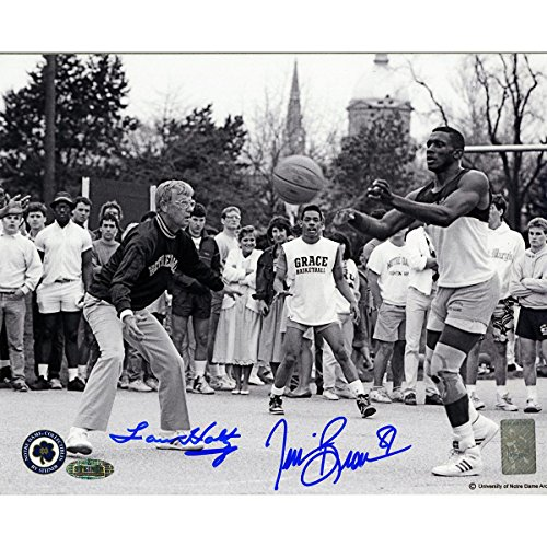 Lou HoltzTim Brown Dual Signed Playing Basketball 8x10 Photo