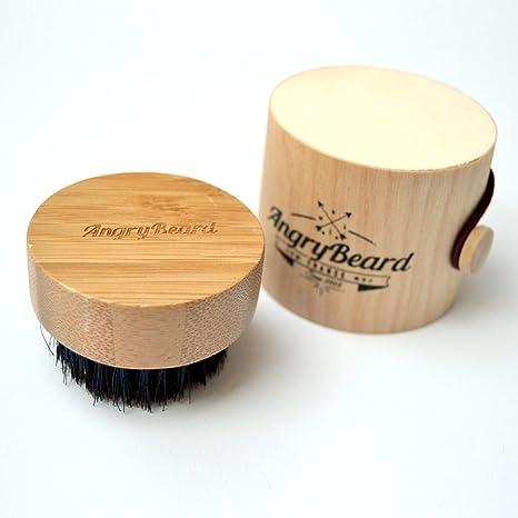 Pincel barba pequeña para hombres - Cepillo redondo de barba - Cepillo de barba de cerdas