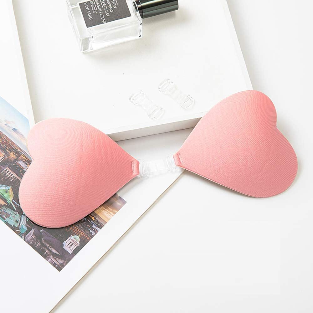 Self-Adhesive Strapless Heart-Shape Lift Pasties Bra Sticky Push Up backless Silicone Nipple Cover Invisible Bra (pink, C/D)