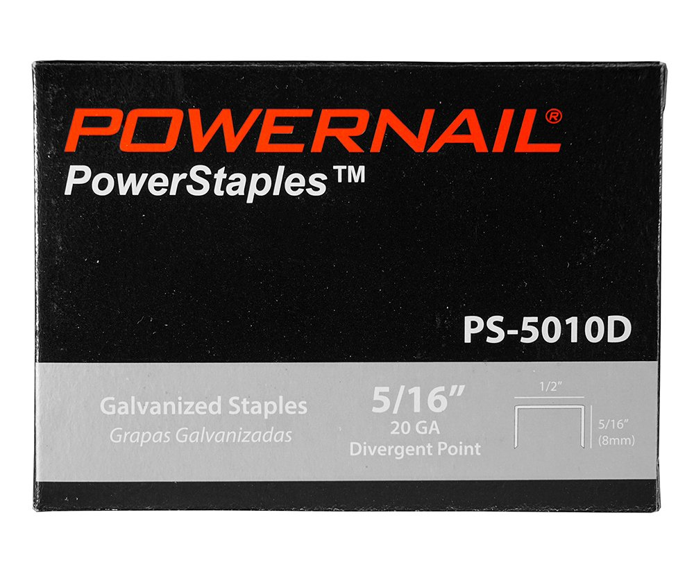 Powernail 20ga Divergent Point Staples, 1/2'' Crown, 5/16'' L(1 Case of 20-5,000 ct boxes) by Powernail (Image #2)