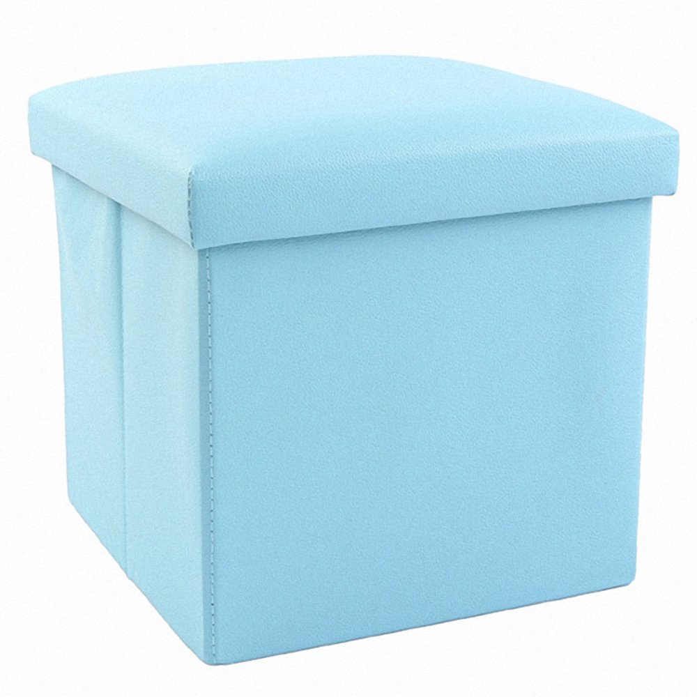 Genenic Children Toy Chests & Storage Organizers Foot Stool,12'' Storage Ottoman Folding Stool,Collapsible Storage Ottoman Faux Leather Seat Toys Collection (blue)