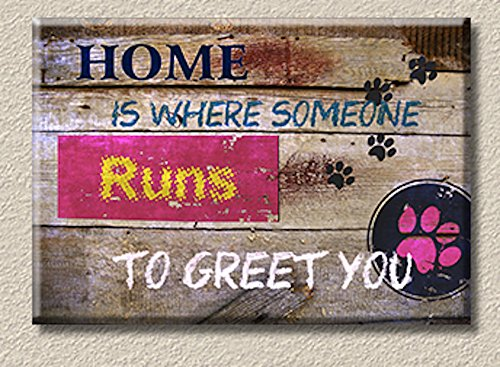 Inspiration SuhaShop Canvas Print Wall Art with Stretched Framed Ready to Hang Painting Perfect For Livingroom, Bedroom A Great Home Decor Idea with a quote HOME IS WHERE SOMEONE RUNS TO GREET YOU (Where To Buy Home Bars)