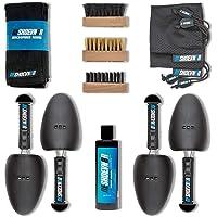 Reshoevn8r 2 zapatillas de limpieza para lavandería Solución de limpieza, cepillo para polvo multiusos, cepillo para polvo suave, cepillo para polvo rígido, 2 árboles de zapatos, 2 bolsas de lavandería, toalla de microfibra, piel, ante, lona