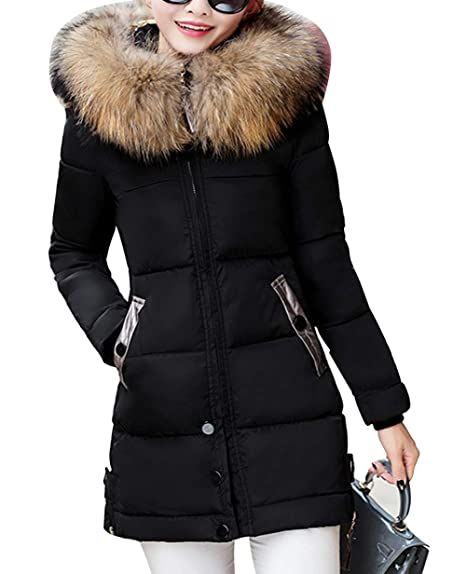 2299d10bd5acc MAGIMODAC Women s Down Coat Zip Up Padded Faux Fur Hooded Parka Long  Overcoat Slim Warm Winter
