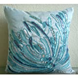 """Blue Decorative Pillow Cover 14 x 14, Aqua Sequins and Beaded Beach and Ocean Theme Pillows Cover, 14""""x14"""" Throw Pillow Cover, Silk Pillows Cover, Floral Mediterranean Decorative Pillows Cover -Water Burst"""
