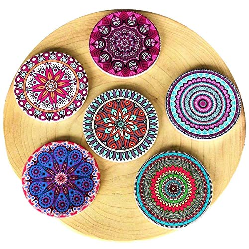 """Coasterland Absorbent Stone Coasters For Drinks, SET of 6, LARGE, Different Mandala Designs, Colorful, Thick, Save Your Furniture, Ceramic, Round, Durable, Beautiful, Perfect Gift, 4.3"""" Diameter"""