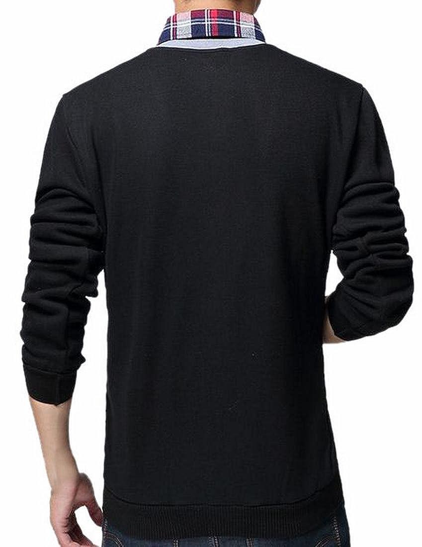 HTOOHTOOH Mens V-neck Front-button Solid Color Knit Cardigan