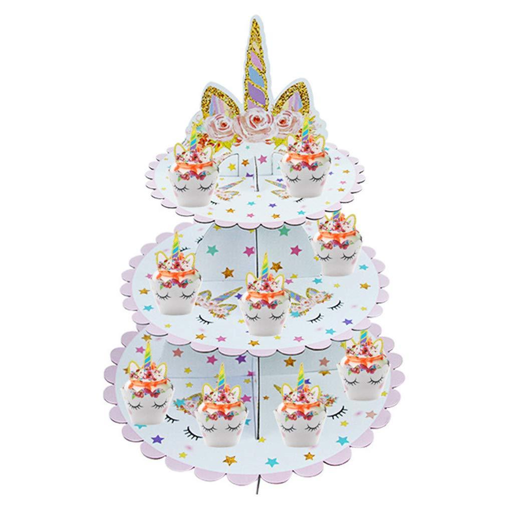para Bodas Soporte para postres de Unicornio decoraci/ón Rosa Fiestas de cumplea/ños Soporte para Tartas de Unicornio Color Rosa Bonito Plato Redondo para Cupcakes Amycute
