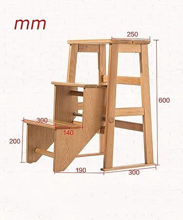cvuh Escalera-Rack-Plegable 3 peldaños Escaleras de madera maciza Escalera Taburete-Escalar Taburete escalonado Multifunción Doble uso Estante para flores Estante: Amazon.es: Bricolaje y herramientas