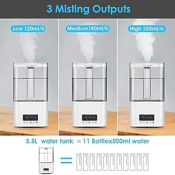 3 modes Diffuseur Huile Essentielle Grande Capacit/é 5L Avec Minuterie Double Buse /à 360/° Humidificateur dAir Maison//B/éb/é//chambre intelligent