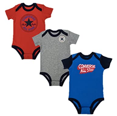 bef2cc78d Converse Baby Boy 3 Pack Vests (6-9M, Red/Grey/Blue): Amazon.co.uk: Clothing