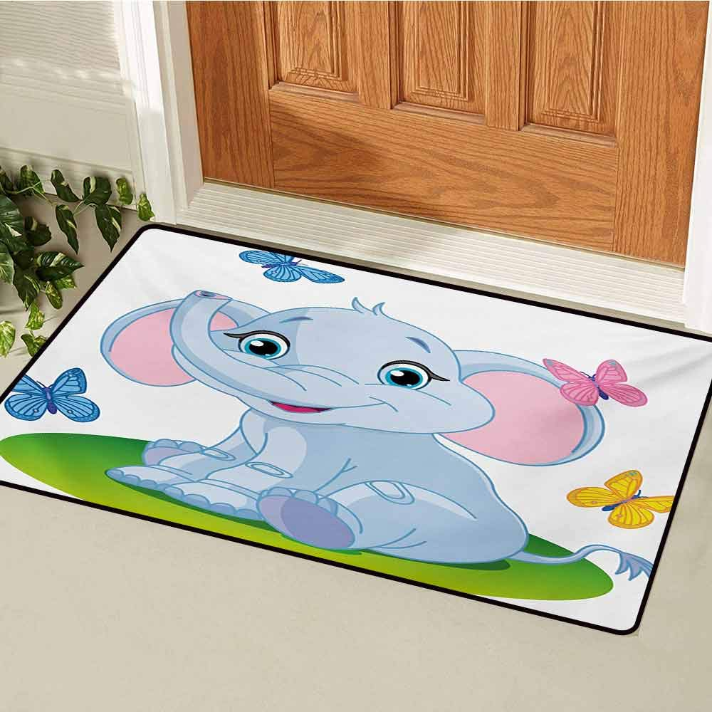 Nursery Universal Door mat Cute Baby Elephant Sitting on The Meadow in Spring Time with Butterflies Door mat Floor Decoration W47.2 x L60 Inch Baby Blue Pink Green