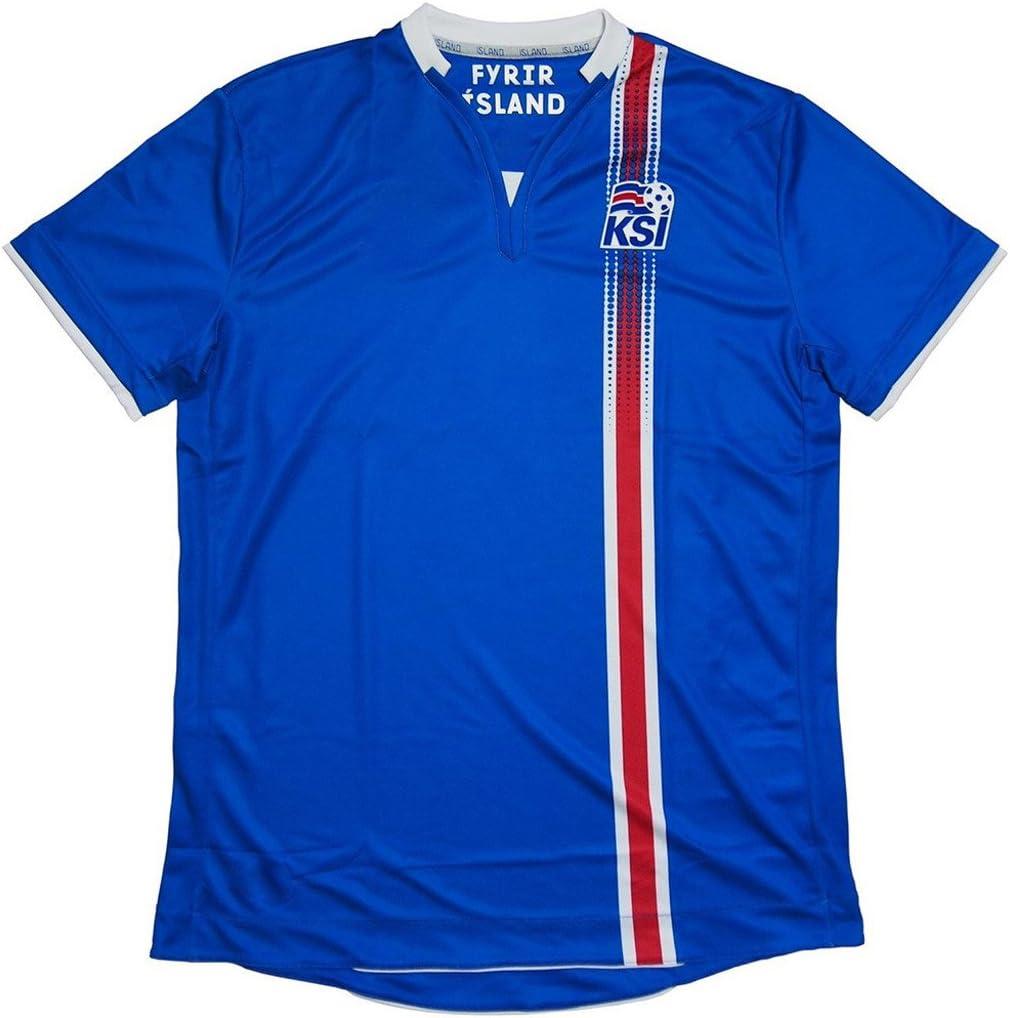 Camiseta del equipo de fútbol de Islandia 2016-2017, personalizable, color azul, European Soccer League, Hogar, hombre, color azul, tamaño Small: Amazon.es: Deportes y aire libre