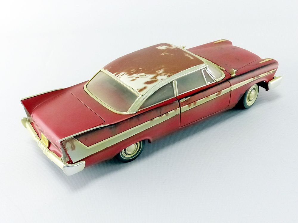 Auto World-Miniature Car Dirty Version Christine 1958Plymouth Fury 1/18Scale, awss119, Red/White by Auto World (Image #4)