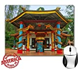"Luxlady Natural Rubber Mouse Pad/Mat with Stitched Edges 9.8"" x 7.9"" IMAGE ID: 34432468 View of old monastery beside garden Taken at Vihara Dewi Kwan Im Kraton Kawi Mountain Malang east Java Indonesia"