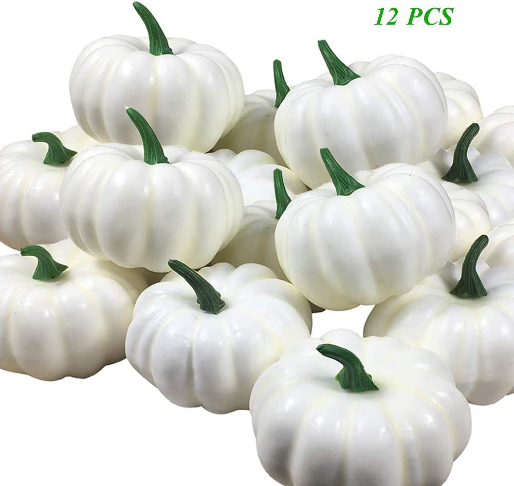 ShellKingdom Artificial Mini Pumpkin for Decoration, Fall Pumpkin for Home/Wedding Thanksgiving/Halloween/Party Decoration 12 PCS(White)