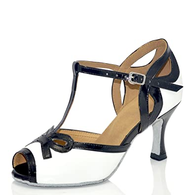32d10119cc7e2 misu Women's Peep Toe Sandals Latin Salsa Tango Practice Ballroom Dance  Shoes with 2.75