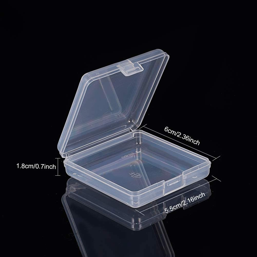 BENECREAT 18 Pack 2.8x2.44x0.62Rectangle Clear Plastic Bead Storage Containers Box Drawer Organizers with lid for Items,Earplugs,Pills,Tiny Bead,Jewelry Findings