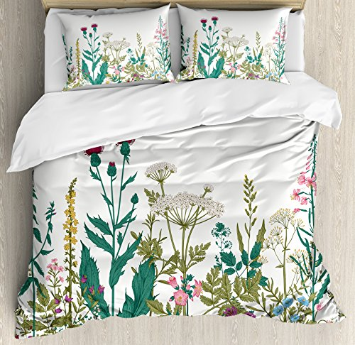 - Ambesonne Flower Duvet Cover Set Queen Size, Flowers and Leaves in a Spring Garden with Daisies Roses Hydrangeas Artwork Print, Decorative 3 Piece Bedding Set with 2 Pillow Shams, Jade Green
