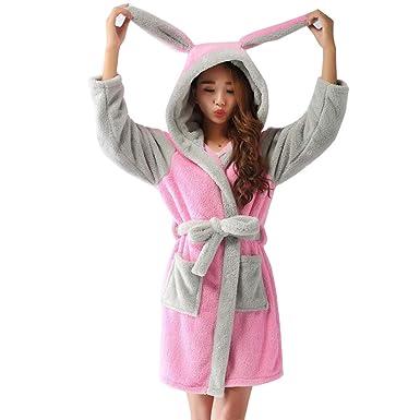 ea46054249a68 Peignoir a Capuche Femme Pyjama Animaux Mignon Robe Manche Longue Vêtements  de Nuit Fantaisie Cosplay Costume
