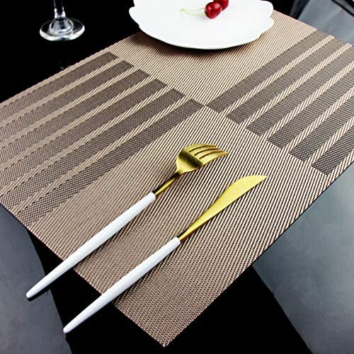 GoFriend 6 PCS PVC Woven Placemats For Dining Table Washable Heat-resistant Vinyl Table Mats 12 by 18 Coffee Placemats Coffee 12/'/' by 18/'/'