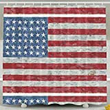 BINGO FLAG Funny Fabric Shower Curtain American Flag Day Waterproof Bathroom Decor With Hooks 60 X 72 Inch