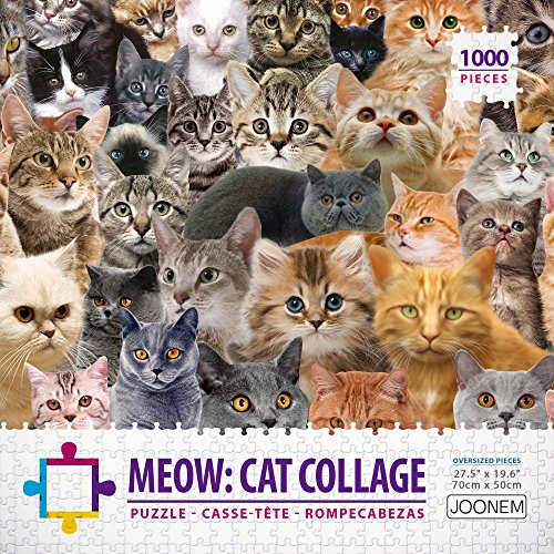 1000 Piece Photo Jigsaw - Meow: Cat Jigsaw Puzzle Photo Collage - Large 1000 Pieces Puzzle For Adults By Joonem