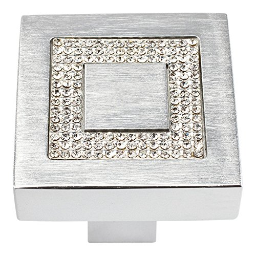 (Atlas Homewares 3192 Crystal Collection 1.4-Inch Square Inset Crystal Knob, Matte Chrome)