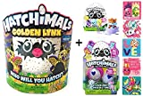 Hatchimals Exclusive Golden Lynx Egg + BONUS CollEGGtible 2 Pack with Nest + Season 1 Blind Bag + 5 Shopkins Glitter Stickers!