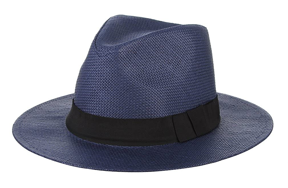 Licus Men Women Panama Straw Sun Hat Fedora Outdoor Jazz Hat with Black Band