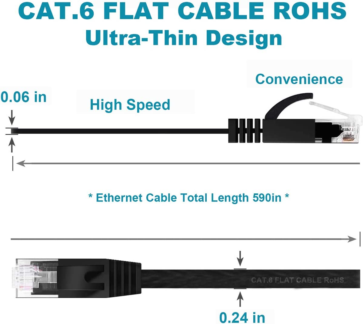 Flat Wire LAN Rj45 High Speed Internet Network Cable Slim with Clips Cat 6 Ethernet Cable 50 ft Black Faster Than Cat5e,Cat5 with Snagless Connectors for PS4,Xbox one,Switch Boxes,Modem,Router