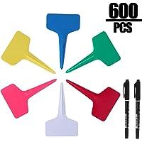 KINJOEK 600 PCS 6 Colors Plant Labels, 2.36 x 3.94 Inch PVC T-Type Plant Tags Garden Markers, 2 Marker Pen, Gardening Signs for DIY, Garden, Plant, Nursery