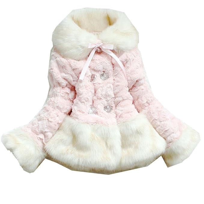 Amazon.com: jianlanptt bebé las niñas Faux chamarra de piel ...
