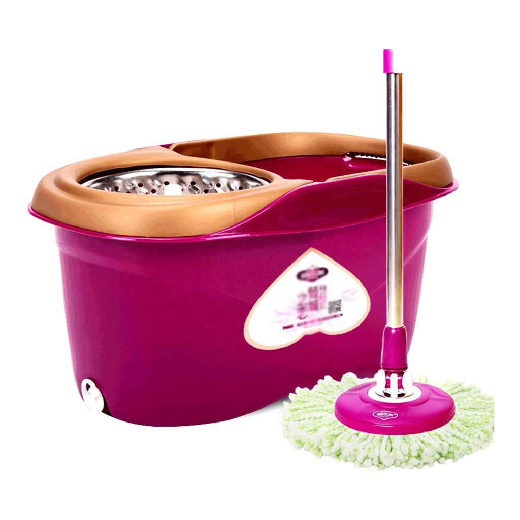 自動回転モップバケット、創造的な紫色のステンレススチール回転モップ家庭用多機能モップバケット (色 : Purple) B07J5N57KC Purple