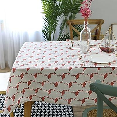 Bluelans Flamingo mantel algodón lino mesa de comedor escritorio ...