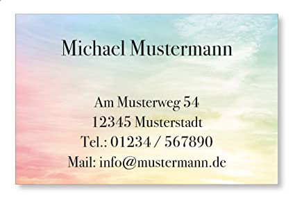 100 Visitenkarten 350g M Bilderdruck Matt 85 X 55 Mm Inkl Kartenspender Design Farbige Wolken
