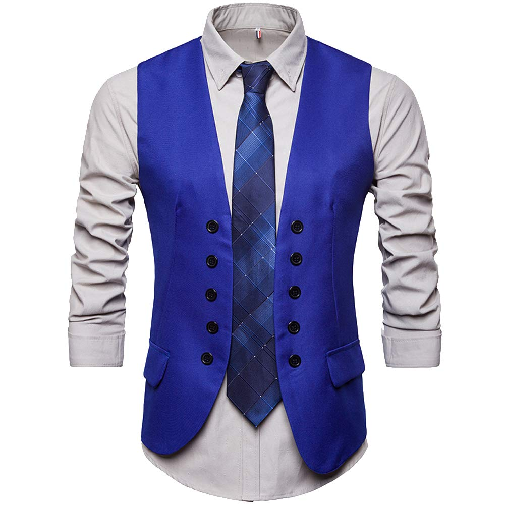 Cottory Mens Double Breast Dress Waistcoat Fancy Dress Vest For Men