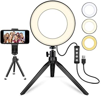 Led Ring Light 6 With Tripod Stand For Youtube Video And Makeup Mini Led Camera Light With Cell Phone Holder Desktop Led Lamp With 3 Light Modes 11 Brightness