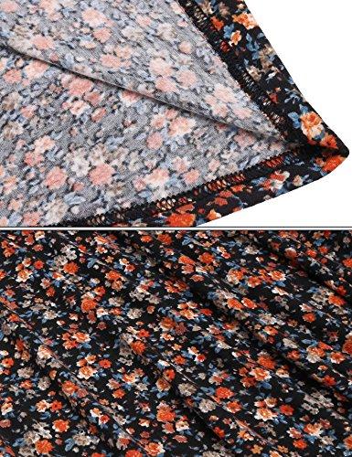 Midi Flower Wrap Dress Flowy Sleeve Orange Long Zeagoo Print Women's Rayon nZwgqxTEA8